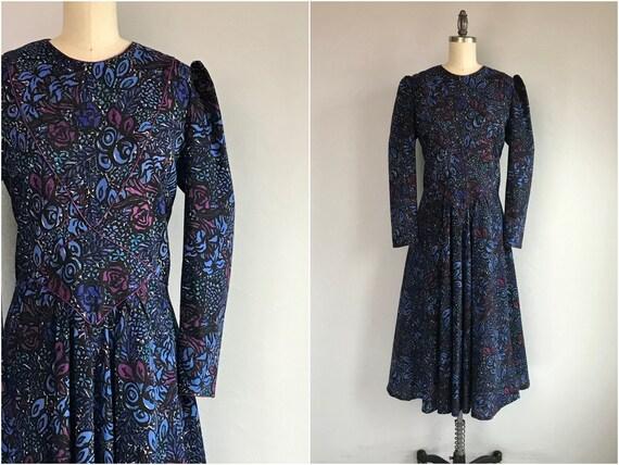 Vintage 80s Origin Dress / 80s Wool Floral Print P