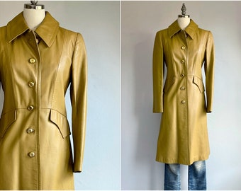 Vintage 70s Leather Coat / 1970s Antique Gold Bronze Fitted Leather Coat