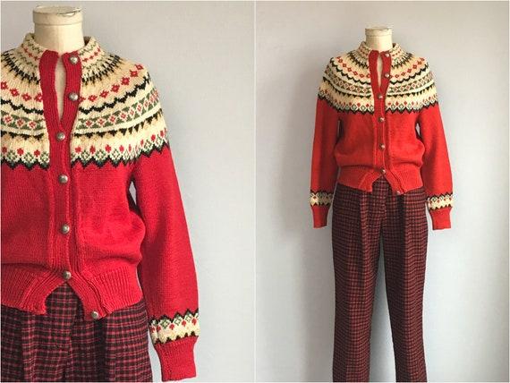 Vintage Nordic Wool Fair Isle Cardigan / 1950s Han
