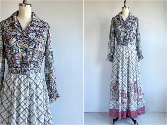 Vintage 1940s Floor Length Day Dress in Ditsy Floral Print with Pockets