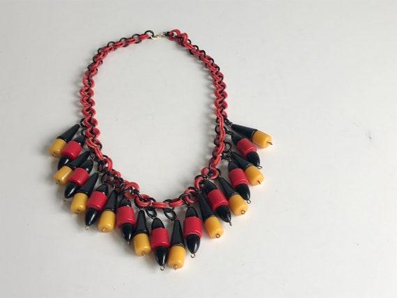 Vintage 40s Bakelite Charm Necklace  / 1940s Black