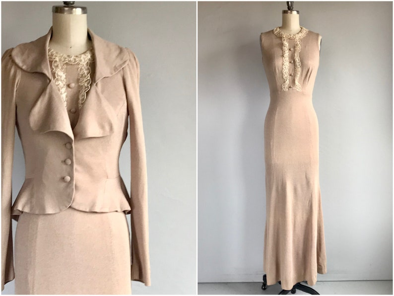 Vintage 70s Young Innocent Maxi Dress Set  1970s Arpeja Tan Jersey Lace Trimmed with Fitted Peplum Jacket  70s does 30s