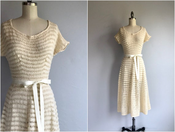 Vintage 50s Hand Knit Sweater Dress / 1950s Cream