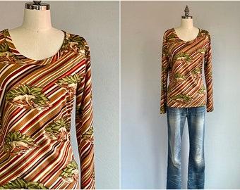 Vintage 70s Novelty Tee Shirt / 70s Animal Leopard Art Deco Print Long Sleeve Tee / 70s does 30s Tshirt