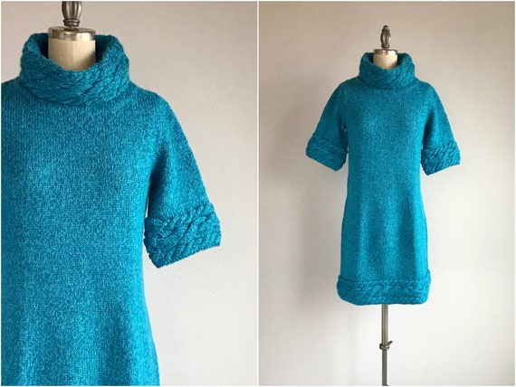 Vintage 60s Sweater Dress / 1960s Hand Knit Turquo