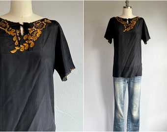 Vintage 60s Silk Blouse / 1960s Hand Embroidered Black Silk Tee Camel Gold Floral Embroidery