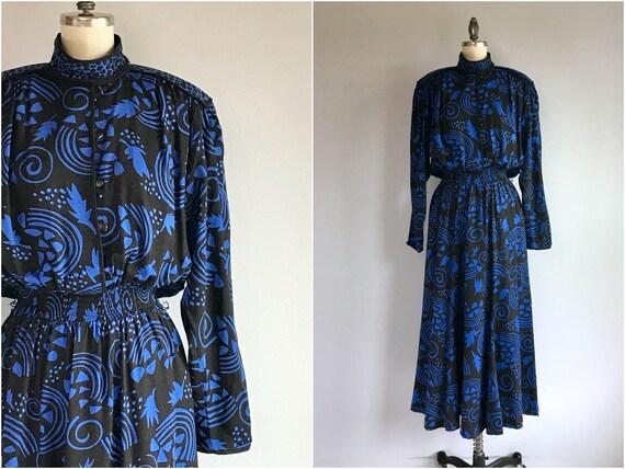 Vintage 80s Jeanne Marc Dress / 1980s Boho Floral