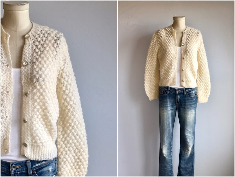 e8a5fe848 Vintage 60s Mohair Cardigan   1960s Cream Fluffy Wool Lace