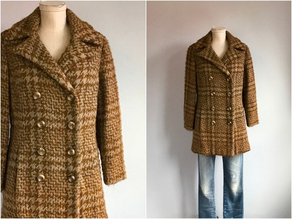 Vintage 70s Wool Coat / 1970s Wool Nubby Tweed Pla