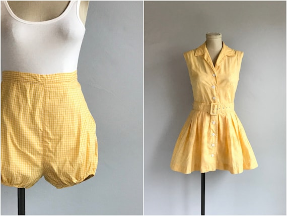 Vintage 50s Play Suit / 1950s Yellow and White Cot