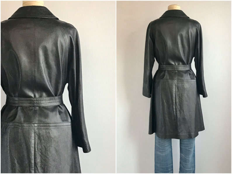 Vintage 60s Bonnie Cashin Coat  1960s Mod Black Leather Trench Jacket with Brass Toggle Clasp