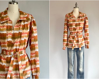 Vintage 70s Blouse / 70s Ombre Marble Print Peasant Blouse with Belt / Fall Colors