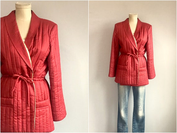 Vintage Quilted Jacket /  80s Rust Colored Padded