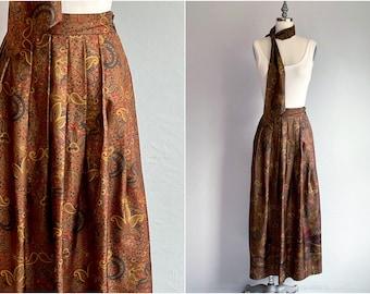 Vintage 80s Ralph Lauren Skirt / 1980s Silk Paisley Pheasant Border Print Midi Skirt with Scarf / Designer Vintage