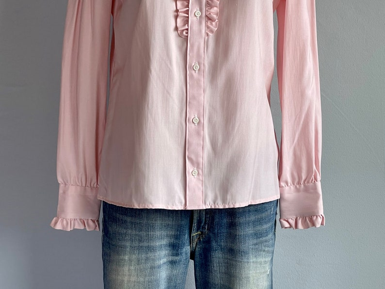 Vintage 80s Silk Blouse  1980s Deadstock Littler Pink Silk Shirt with Ruffled Stand Collar  NOSWT