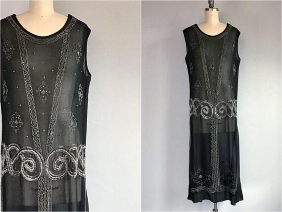 Vintage 1920s Flapper Dress /  20s Sheer Black Sil