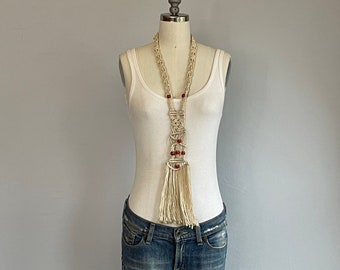 Vintage 70s Macrame Necklace / 1970s Handmade Knotted Cord Necklace with Orange Beads
