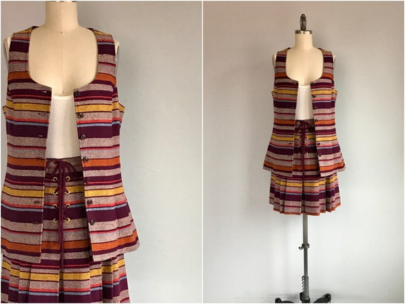 Vintage 70s Bobbi Brooks Skirt Set / 1970s Striped
