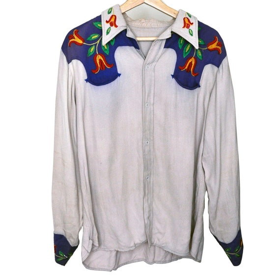 Vintage 70s Western Embroidery Two Tone Snap Mens