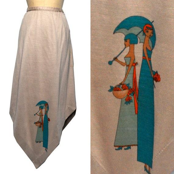 Vintage Asymmetrical Art Deco Revival Women Skirt
