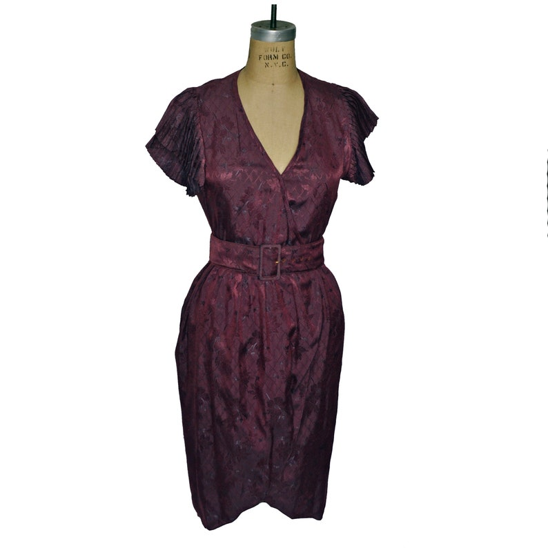 Vintage Purple Gil Aimbez Flutter Sleeve Belted Dress Neiman Marcus