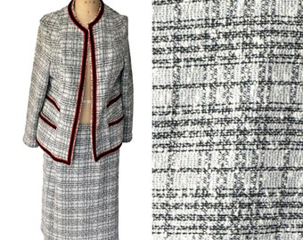 Vintage 60s Marty Gutmacher Grey Checkered Skirt Set Suit Coco Chanel