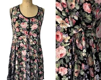 Vintage Floral Tie Back Semi Sheer Nostalgia Size Medium Dress