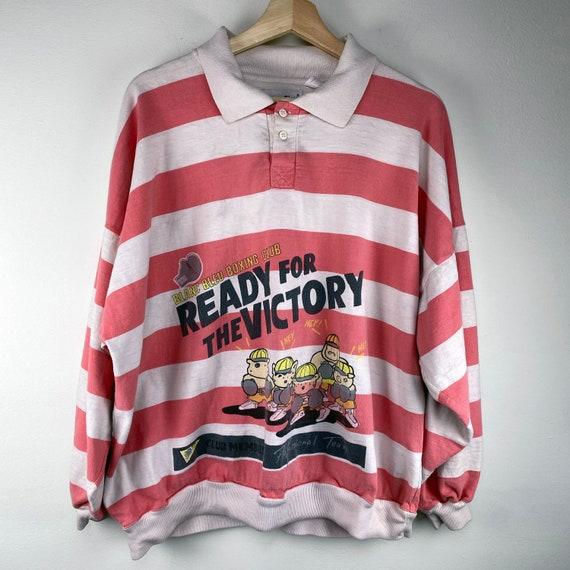 Vintage 1980s Pink Striped Rugby Shirt Blanc Bleu
