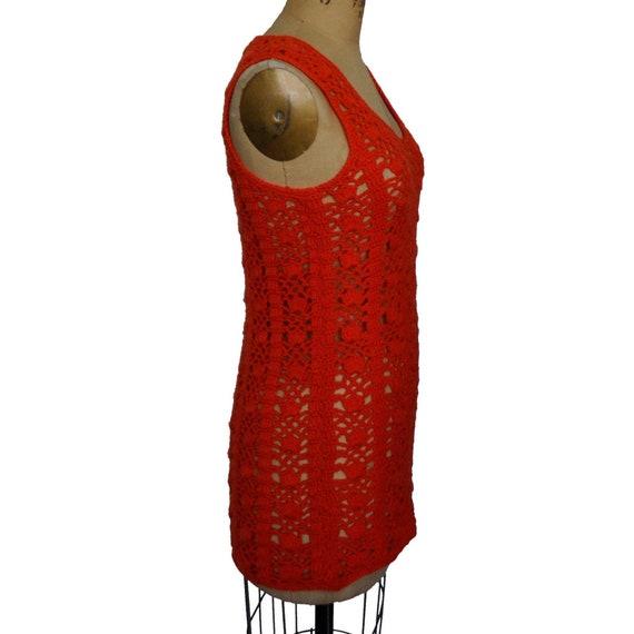 Vintage 70s Hand Knit Crochet Hot Pink Long Sweat… - image 2