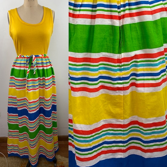 Vintage 1970s Yellow Striped Bright Tank Color Bol