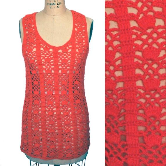 Vintage 70s Hand Knit Crochet Hot Pink Long Sweat… - image 1