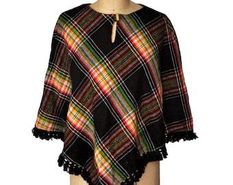 Vintage 70s Plaid Flannel Wool Fringe Short Capelet Poncho
