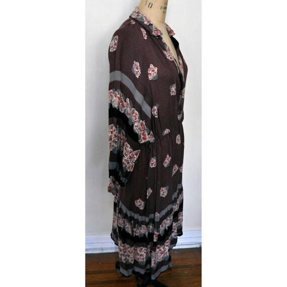 70s Floral Tuxedo Dress A Line Shirt Boho Mod Mid Century   S