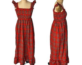 Vintage 70s Red Wool Elastic Maxi Plaid Flannel Dress