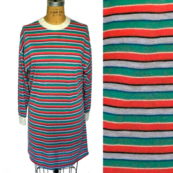 Vintage 80s Striped Acrylic t-shirt Dress