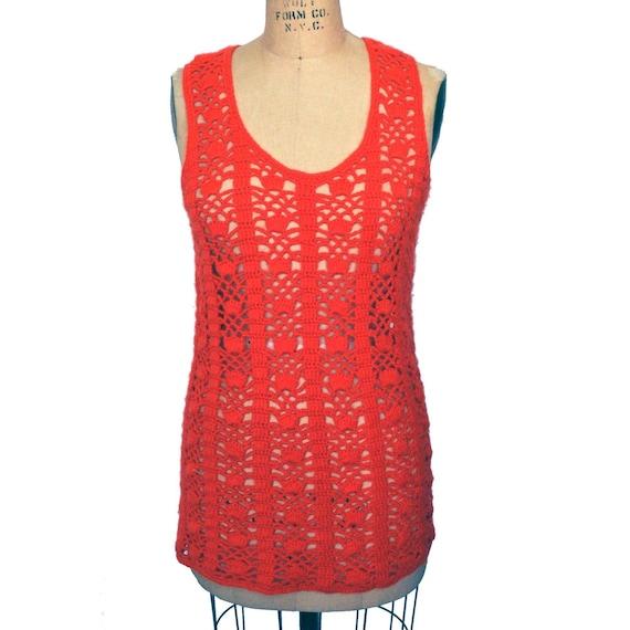 Vintage 70s Hand Knit Crochet Hot Pink Long Sweat… - image 3