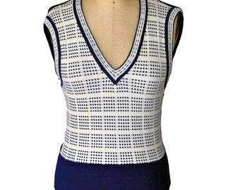 Vintage 70s Blue White Acrylic Plaid Vest