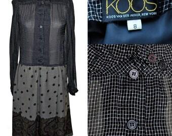 Vintage 90s Koos Van Den Akker Sheer Shirtwaist Dress