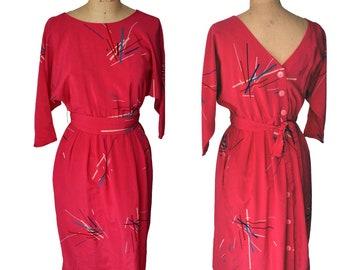 Vintage 80s Dress hot pink buttons pockets Petites by Secrets xs/s