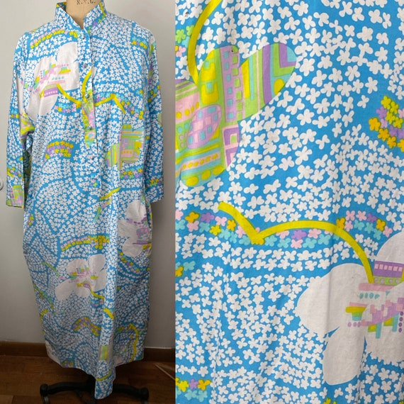 Vintage 1970s Baby Blue Floral Caftan Maxi Dress C