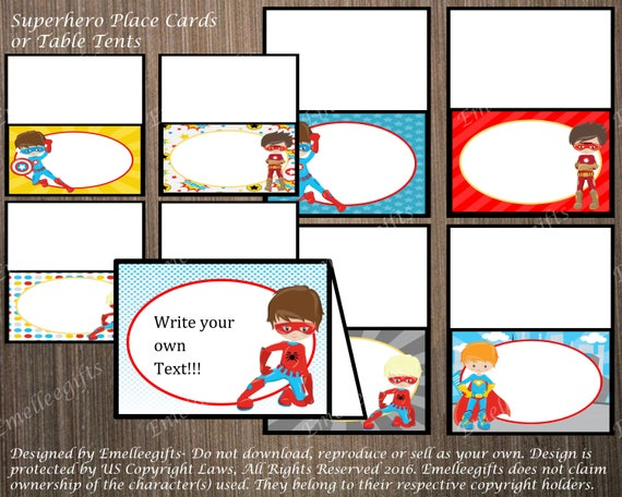 Superhero Place Cards Or Table Tents 2 INSTANT DOWNLOAD