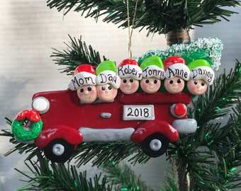 SALE! Family in Classic Red Truck with Christmas Tree  Ornament Personalized Handmade Polymer Clay