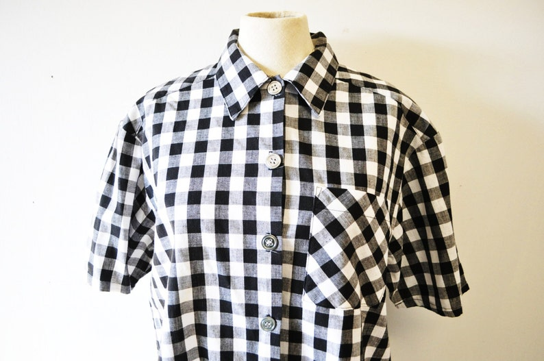 1970s vintage Hang Ten blouse...Hang Ten black and white checked--camp style shirt