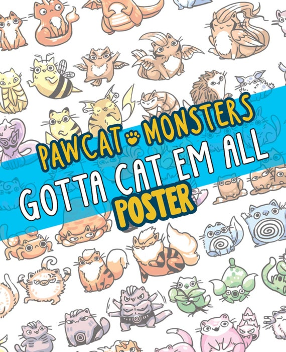 150 pokemon as cats 11 by 17 poster geekery cats