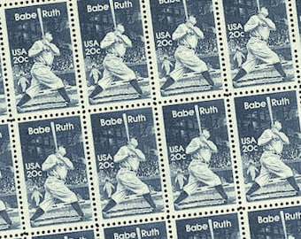 50 pieces - 1983 20 cent Babe Ruth - Vintage unused stamps - great for baseball lovers, Yankee fans