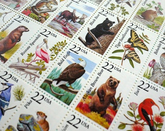 50 pieces - Vintage un-used 1987 22 cent North American Wildlife postage stamps - use for postage or crafts - 50 different designs!