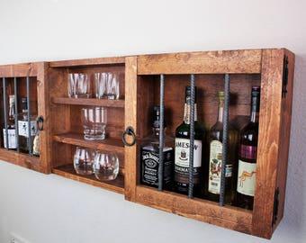 rustic wooden murphy bar hidden liquor cabinet etsy. Black Bedroom Furniture Sets. Home Design Ideas