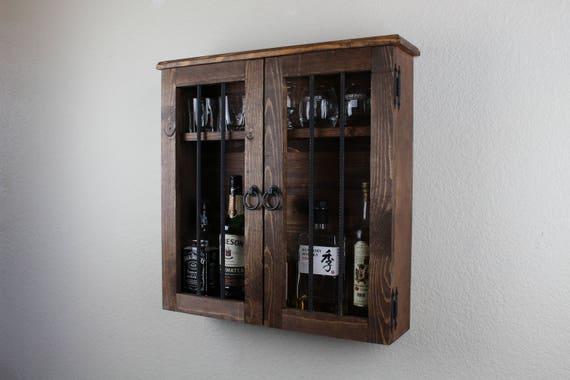 old west jail door handmade wooden liquor cabinet | etsy