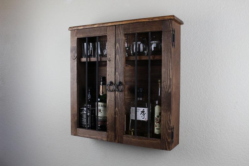 Beau Old West Jail Door Handmade Wooden Liquor Cabinet
