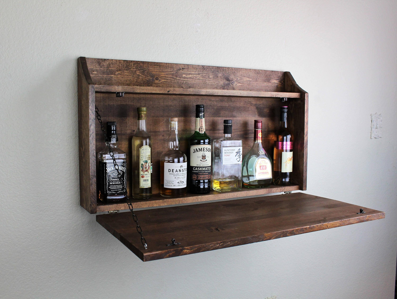 Charmant Rustic Top Shelf Wooden Murphy Bar Liquor Cabinet